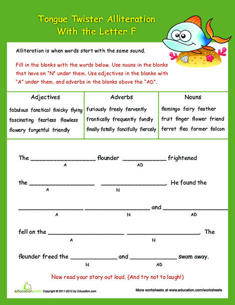 """Fifth Grade Reading & Writing Worksheets: Advanced Alliteration Tongue Twisters: """"F"""""""