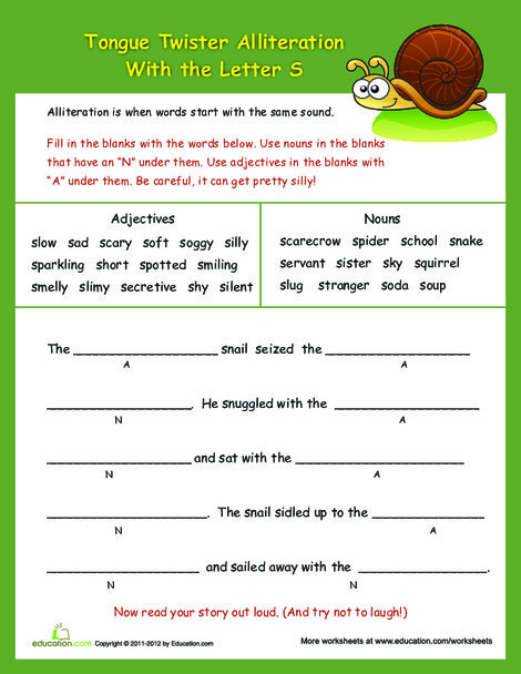 """Third Grade Reading & Writing Worksheets: Alliteration Tongue Twisters: """"S"""""""