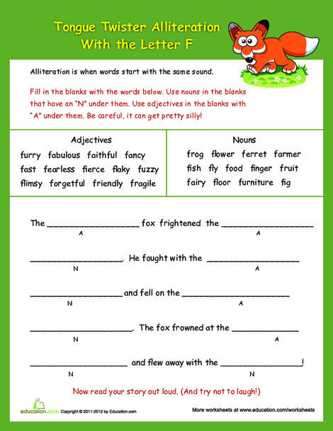 """Third Grade Reading & Writing Worksheets: Alliteration Tongue Twisters: """"F"""""""