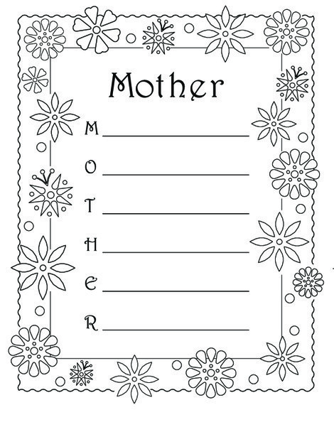 """Fourth Grade Reading & Writing Worksheets: Acrostic Poem: """"Mother"""""""
