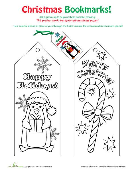Third Grade Holidays Worksheets: Christmas Bookmarks