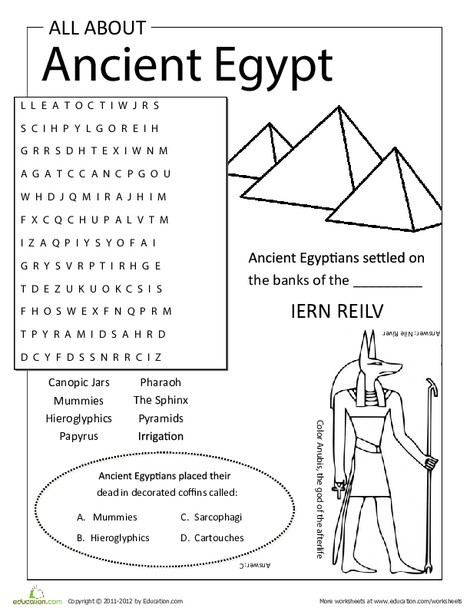 Third Grade Social studies Worksheets: All About Ancient Egypt