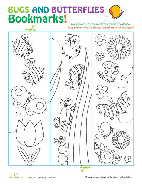Third Grade Arts & crafts Worksheets: Butterfly Bookmarks