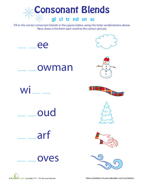 First Grade Reading & Writing Worksheets: Consonant Blends: Winter