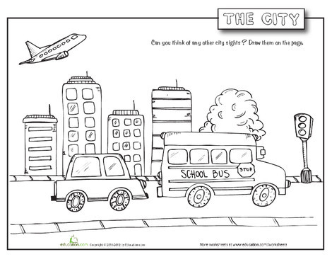 First Grade Coloring Worksheets: City Coloring Page