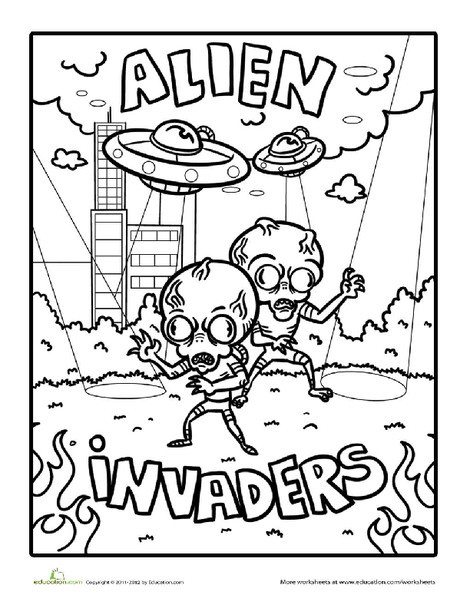 First Grade Holidays Worksheets: Alien Invaders Coloring Page