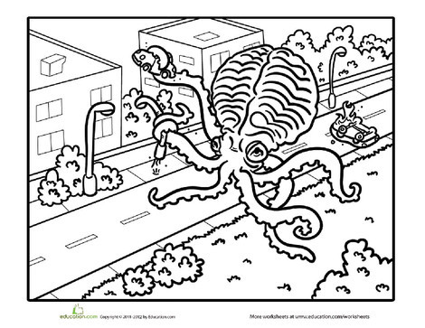 First Grade Holidays Worksheets: Giant Squid Coloring Page
