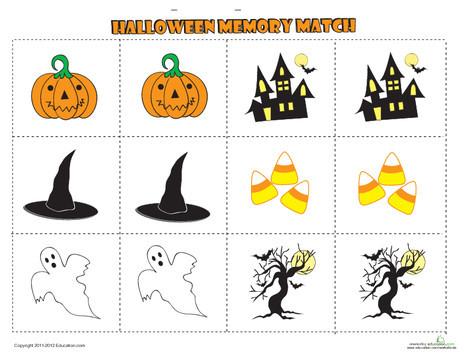Kindergarten Offline games Worksheets: Halloween Memory Game