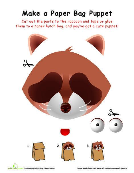 First Grade Arts & crafts Worksheets: Raccoon Paper Bag Puppet