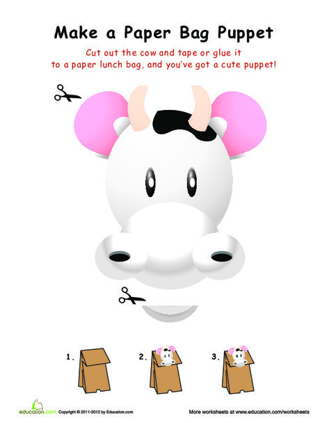 First Grade Arts & crafts Worksheets: Cow Paper Bag Puppet