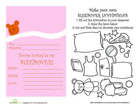 Third Grade Arts & crafts Worksheets: Sleepover Invitations #2