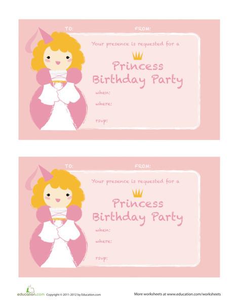 Second Grade Arts & crafts Worksheets: Princess Birthday Invitations
