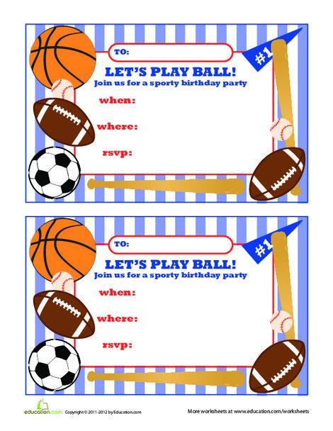 Second Grade Arts & crafts Worksheets: Sports Birthday Invitations #2