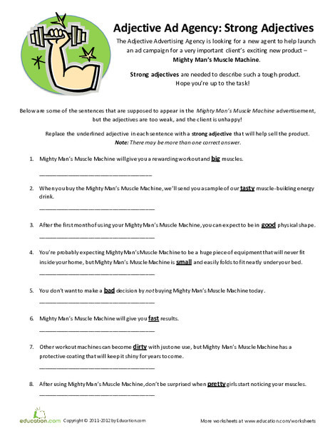 Fourth Grade Reading & Writing Worksheets: Strong Adjectives