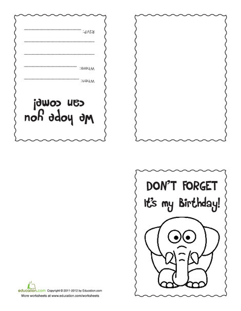 Second Grade Arts & crafts Worksheets: Make Your Own Birthday Invitations