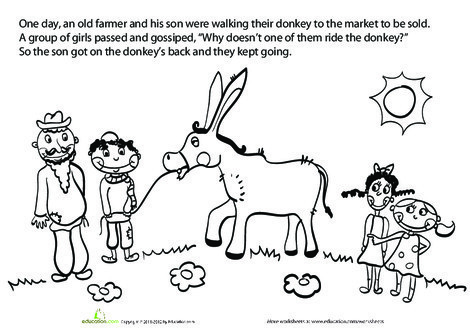 First Grade Reading & Writing Worksheets: The Farmer and his Son