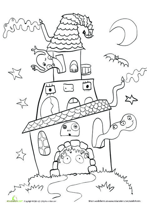 Kindergarten Holidays Worksheets: Color a Haunted House