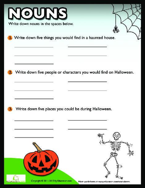 Third Grade Reading & Writing Worksheets: Halloween Nouns