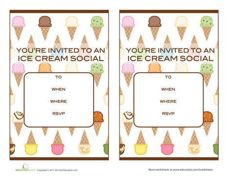 Fifth Grade Arts & crafts Worksheets: Ice Cream Social Invitations