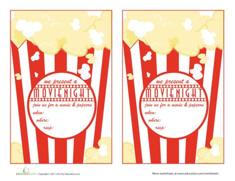 First Grade Arts & crafts Worksheets: Movie Night Invitations