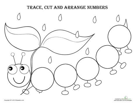 Kindergarten Math Worksheets: Trace, Cut and Arrange Numbers 1