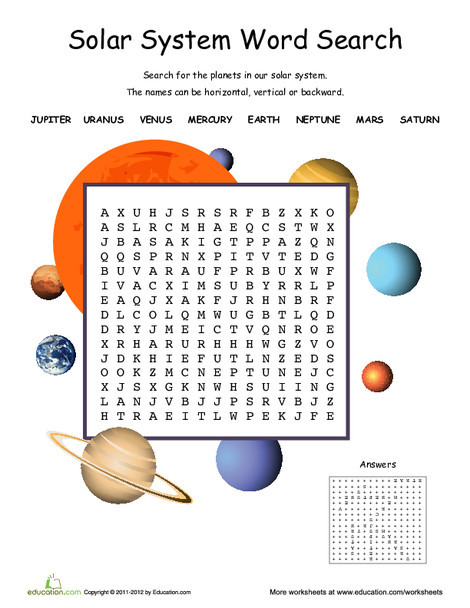 Second Grade Science Worksheets: Solar System Word Search