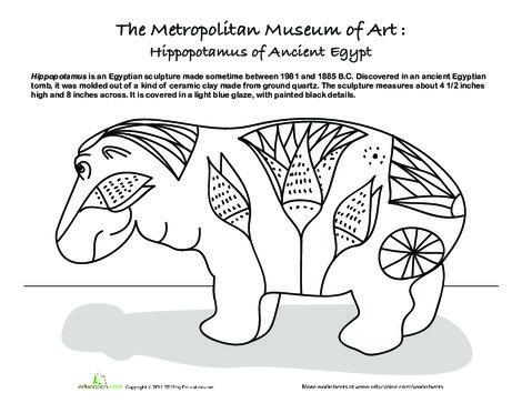 Second Grade Coloring Worksheets: Metropolitan Museum of Art: The Blue Hippo