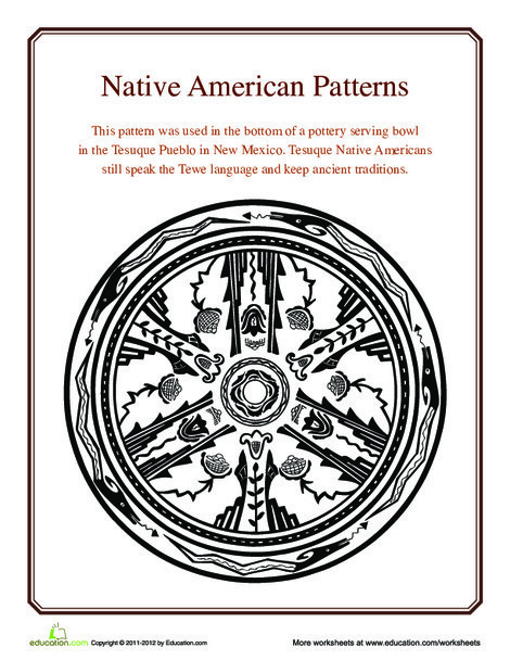 Fourth Grade Social studies Worksheets: Native American Patterns: Tesuque