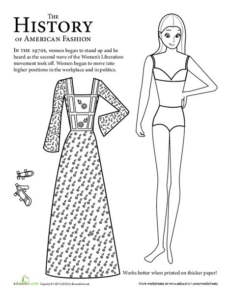 Second Grade Social studies Worksheets: Paper Doll Girl: 1970s