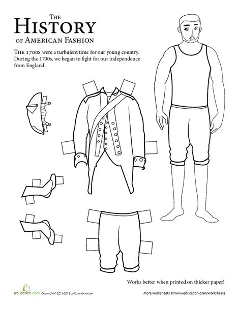 Second Grade Social studies Worksheets: Colonial Soldier Paper Doll: 1700s