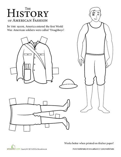 Second Grade Social studies Worksheets: Paper Doll Soldier: WWI