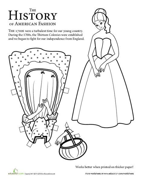 Second Grade Social studies Worksheets: Colonial Paper Doll: Girl