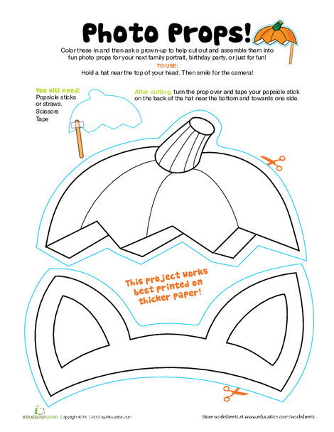 First Grade Holidays Worksheets: Halloween Photo Props