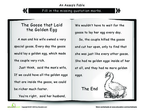 Second Grade Reading & Writing Worksheets: Punctuation: The Goose that Laid the Golden Egg