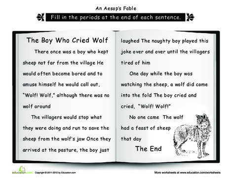 Second Grade Reading & Writing Worksheets: Punctuation: The Boy Who Cried Wolf