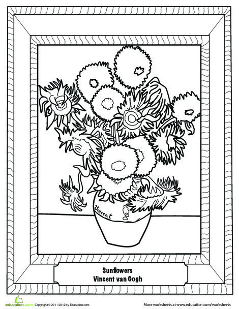 First Grade Coloring Worksheets: Sunflowers by Van Gogh
