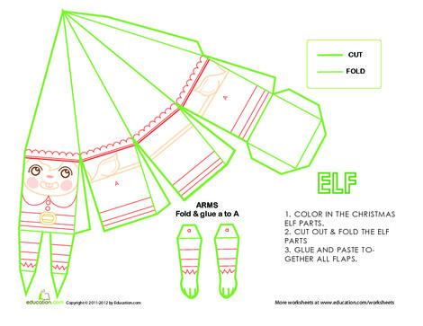 Second Grade Arts & crafts Worksheets: Christmas Paper Craft: Elf