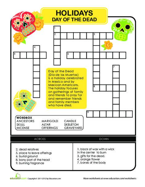 Second Grade Offline games Worksheets: Day of the Dead Crossword