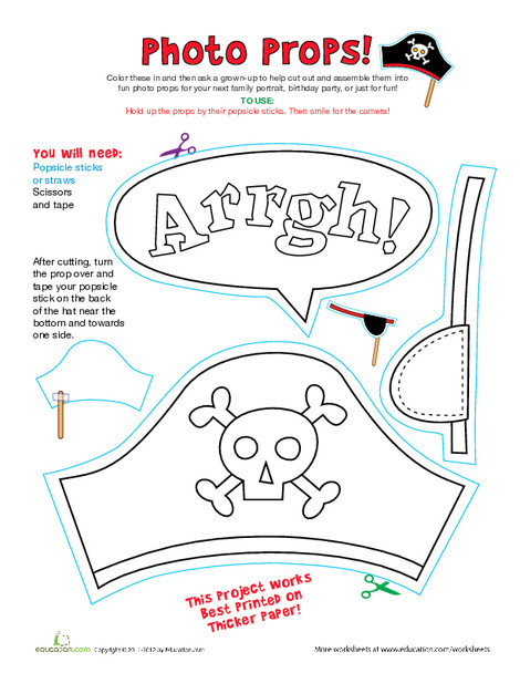 Kindergarten Arts & crafts Worksheets: Pirate Photo Props