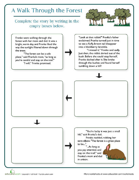 Fourth Grade Reading & Writing Worksheets: Finish the Story: The Forest