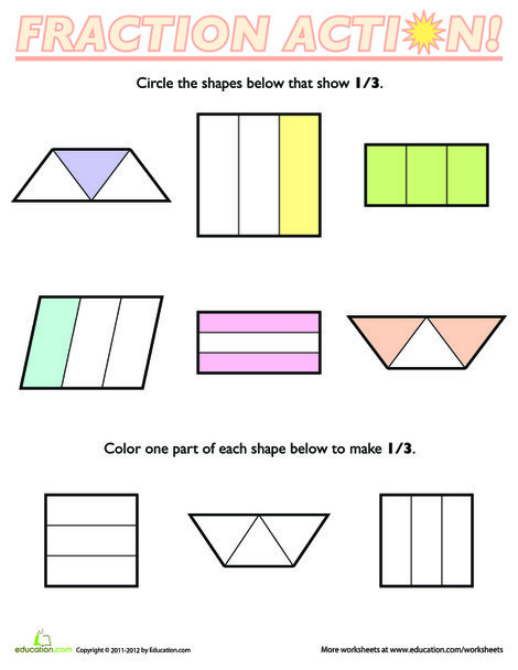 First Grade Math Worksheets: Fractions of Shapes: 1/3