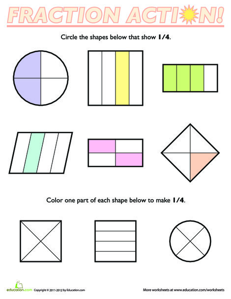 First Grade Math Worksheets: Fractions of Shapes: 1/4