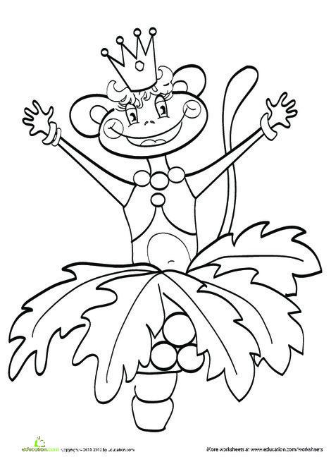 Kindergarten Coloring Worksheets: Princess Monkey Coloring Page