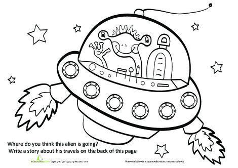 First Grade Reading & Writing Worksheets: Story Starter: Traveling Alien