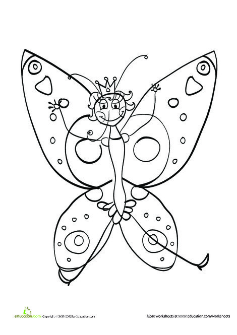 Kindergarten Coloring Worksheets: Princess Butterfly Coloring Page