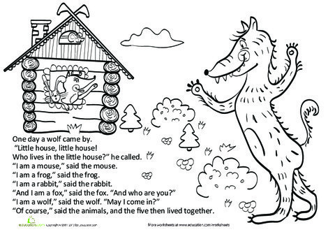 First Grade Reading & Writing Worksheets: Teremok Part IV: The Wolf