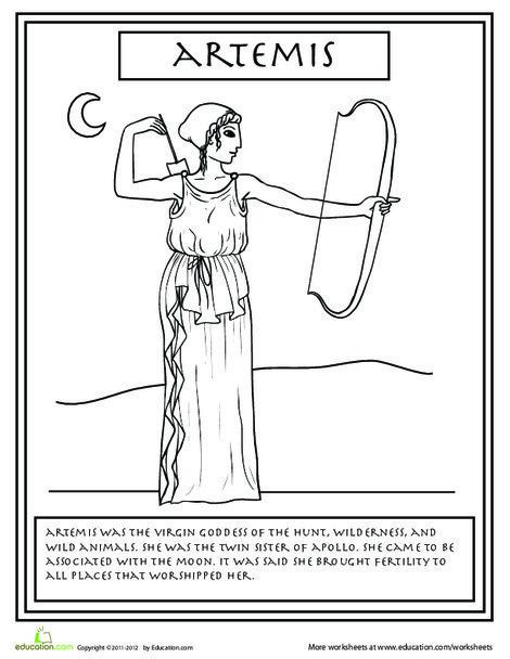 Second Grade Coloring Worksheets: Greek Gods: Artemis