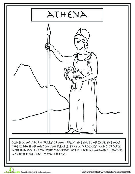 Second Grade Coloring Worksheets: Greek Gods: Athena