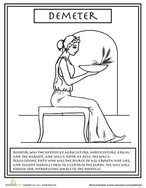 Second Grade Coloring Worksheets: Greek Gods: Demeter