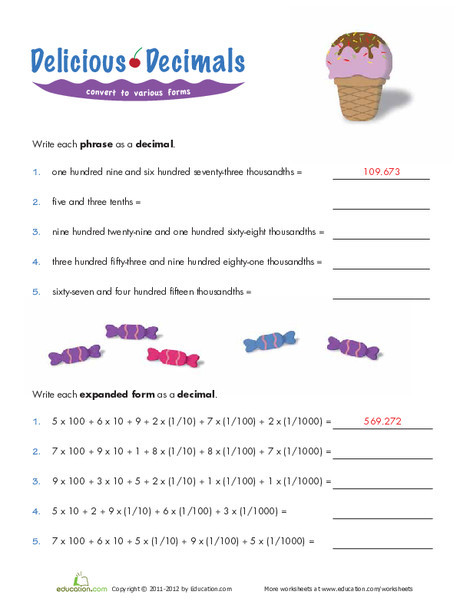 Fifth Grade Math Worksheets: Writing Decimals in Expanded Form